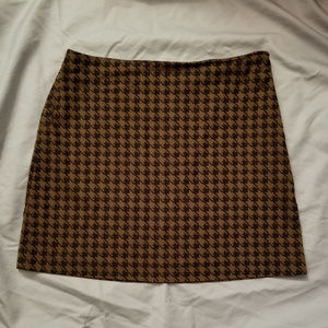 Express Brown Houndstooth Mini Skirt